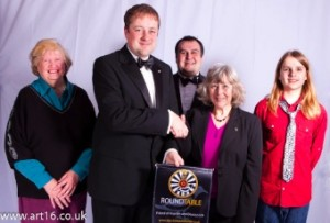 Rhys Lancaster (RT) with representatives of the Royston Museum Timetrackers
